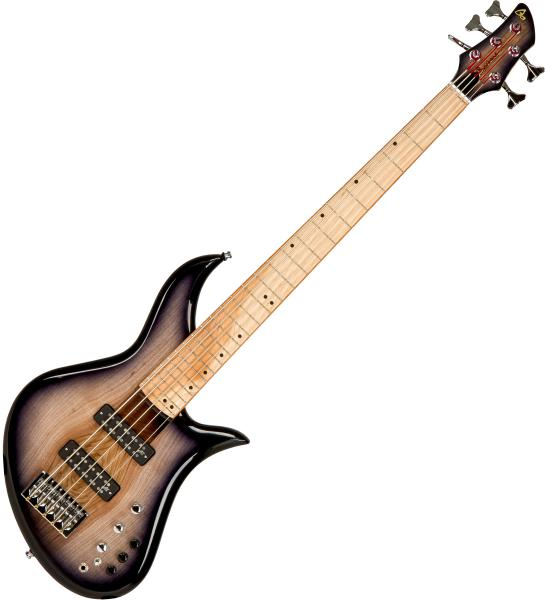 Basse électrique solid body Aquilina Bertone 5 Custom #022035 - Blackburst