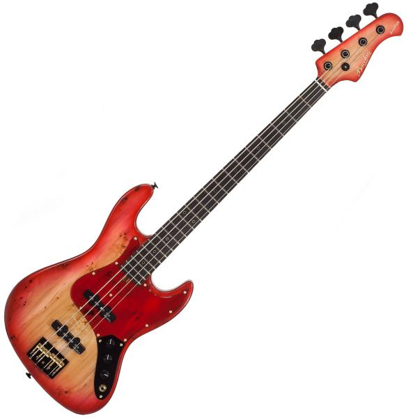 Basse électrique solid body Bacchus DX4 417 BP Woodline Handmade Japan - Red burst