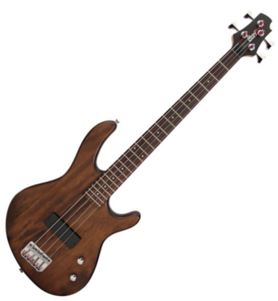 Basse électrique short scale Cort Action Junior - Open pore walnut