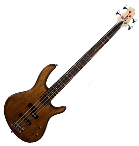 Basse électrique solid body Cort Action PJ OPW - Open pore walnut