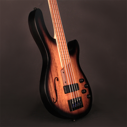 Basse électrique hollow body Cort B4FL MHPZ (Piezo) - trans black burst satin