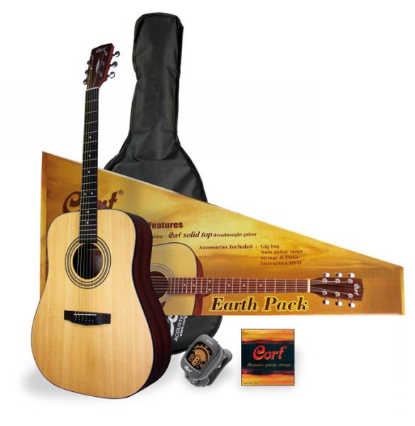 Pack guitare acoustique Cort Earth Pack - Natural open pore