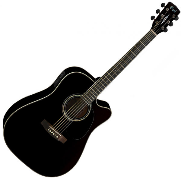 Guitare folk & electro Cort MR710F - Black gloss