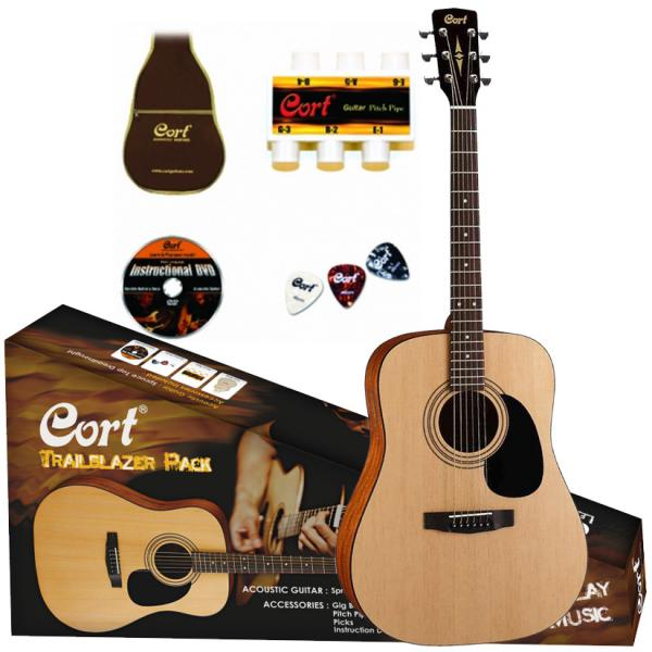 Pack guitare folk Cort Trailblazer CAP-810 Pack - natural open pore