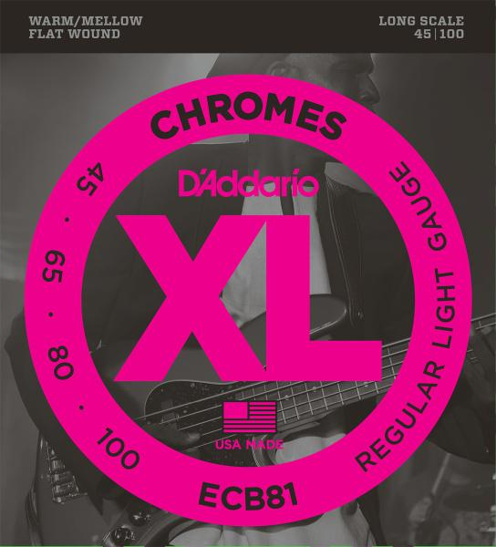 Cordes basse électrique D'addario ECB81 Chromes Flatwound Bass, Long Scale, 45-100 - Jeu de cordes