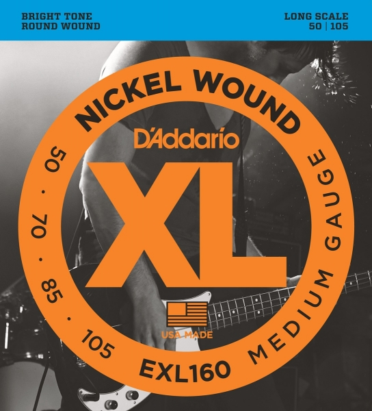 Cordes basse électrique D'addario EXL160 Nickel Wound Electric Bass 50-105 - Jeu de cordes