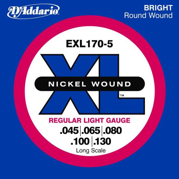Cordes basse électrique D'addario EXL170-5 Bass (5) Nickel Wound Regular Light 45-130 - Jeu de cordes