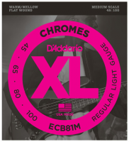Cordes basse électrique D'addario ECB81M Chromes Flatwound Bass, Medium Scale, 45-100 - Jeu de cordes