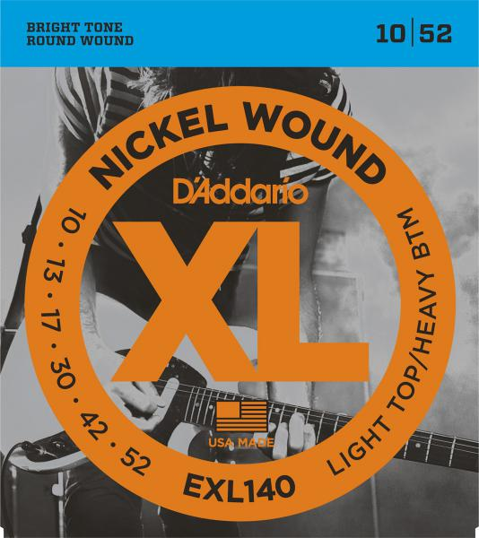 Cordes guitare électrique D'addario EXL140 Light Top Heavy 10-52 - jeu de 6 cordes