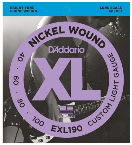 Cordes basse électrique D'addario EXL190 Nickel Round Wound Bass, Long Scale, 40-100 - Jeu de cordes