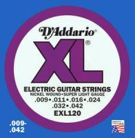 Cordes guitare électrique D'addario EXL120 Electric Super Light 09-42 - Jeu de cordes