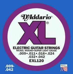 Cordes guitare électrique D'addario EXL120 Electric Super Light 09-42 - jeu de 6 cordes