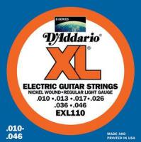 Cordes guitare électrique D'addario EXL110 Nickel Wound Electric Regular Light 10-46 - Jeu de cordes