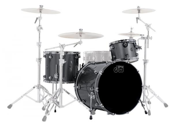 Batterie acoustique rock Dw Performance Lacquer - 3 fûts - Ebony stain