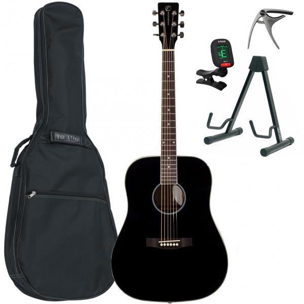 Pack guitare acoustique Eastone DR100-BLK +X-Tone Bag Pack - Black