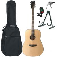 Pack guitare folk Eastone DR100-NAT +Tobago GB10F Bag Pack - Natural satin