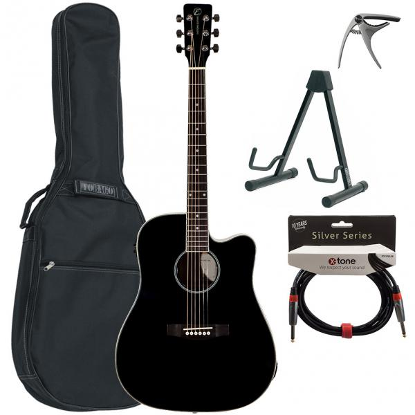 Pack guitare acoustique Eastone DR100CE-BLK +X-Tone Bag Pack - Black