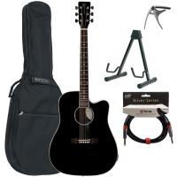 Pack guitare folk Eastone DR100CE-BLK +Tobago GB10F Bag Pack - Black