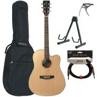 Pack guitare folk Eastone DR100CE-NAT +Tobago GB10F Bag Pack - Natural satin