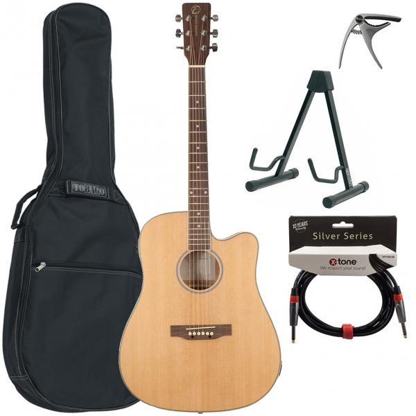 Pack guitare acoustique Eastone DR160CE-NAT + X-Tone Bag Pack - natural