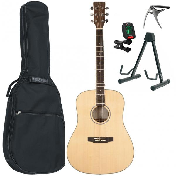 Pack guitare folk Eastone DR260-NAT + X-Tone Bag Pack - natural