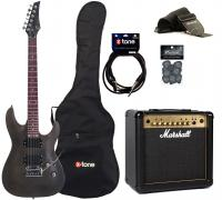 Pack guitare électrique Eastone METDC +Marshall MG15FX Gold +Accessoires - Black satin