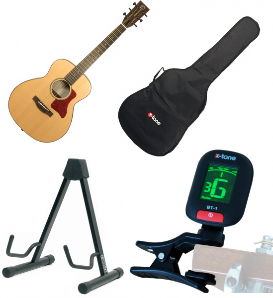 Pack guitare folk Eastone MJ31 Mini Dreadnought + housse + stand + accordeur - natural