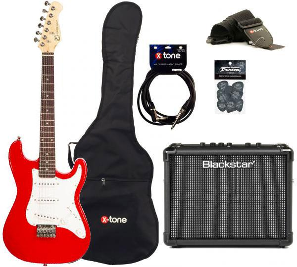 Pack guitare électrique Eastone STR MINI +BLACKSTAR ID:CORE STEREO 10 +CABLE +HOUSSE+ COURROIE+ MEDIATORS - red
