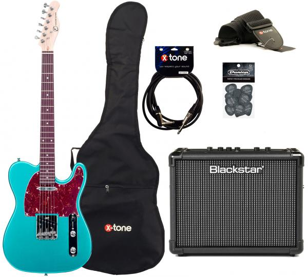 Pack guitare électrique Eastone TL70 +Blackstar Id Core Stereo 10 +Accessoires - Metallic light blue