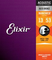Cordes guitare folk  Elixir Nanoweb 11182 Acoustic HD Light 013-053 - Jeu de cordes