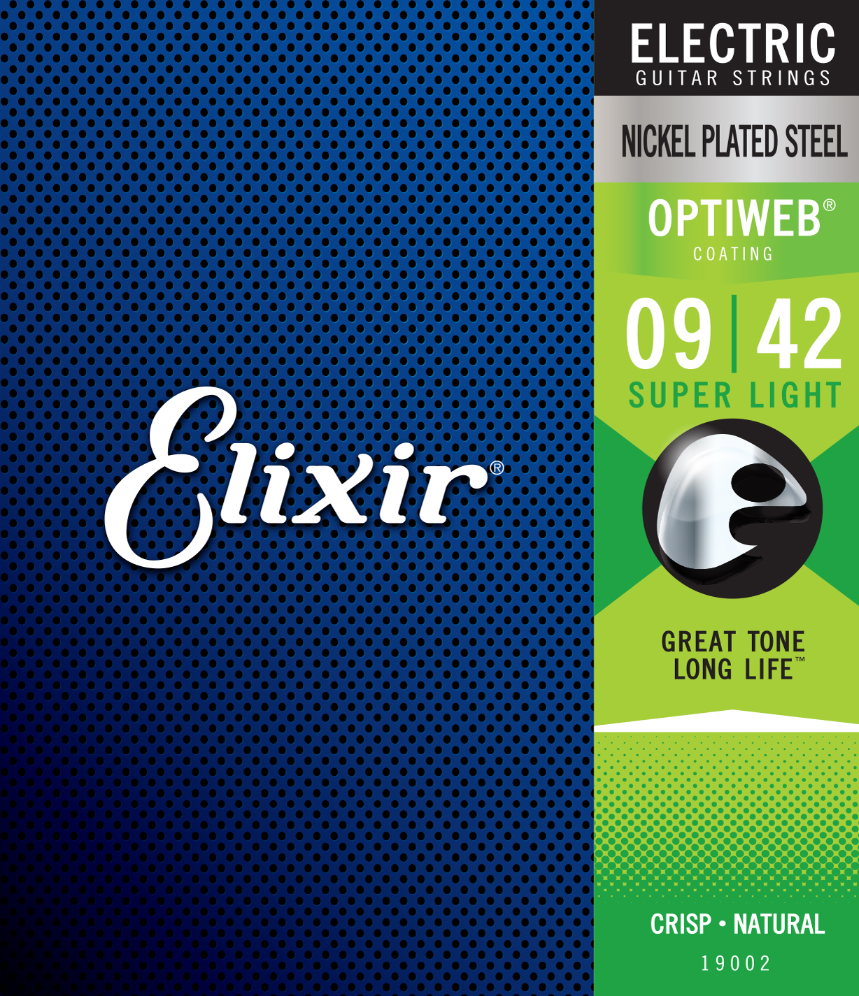 Cordes guitare électrique Elixir Optiweb Nickel Plated Steel Electric Guitar 9-42