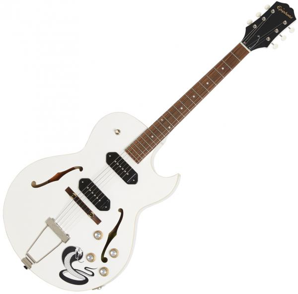 Guitare électrique hollow body Epiphone George Thorogood White Fang ES-125TDC Outfit Ltd - bone white