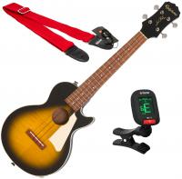 Ukulélé Epiphone Les Paul Tenor Acoustic/Electric Ukulele + X-Tone Accessories - Vintage sunburst