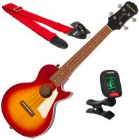 Ukulélé Epiphone Les Paul Tenor Acoustic/Electric Ukulele + X-Tone Accessories - Aged cherry sunburst