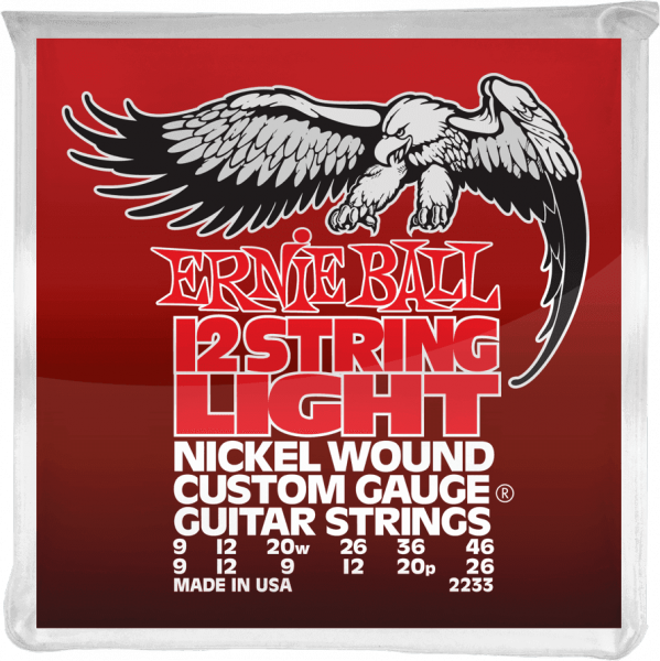 Cordes guitare électrique Ernie ball Electric (12) 2233 Nickel Wound Light 9-46 - jeu de 12 cordes