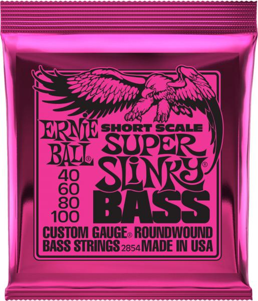 Cordes basse électrique Ernie ball Bass (4) 2854 Super Slinky Short Scale 40-100 - Jeu de cordes