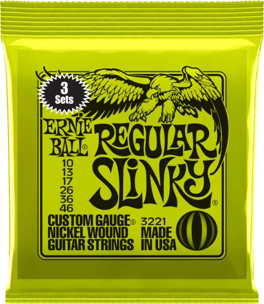 Cordes guitare électrique Ernie ball Electric (3X SET) 3221 Regular Slinky 10-46 - jeu de 6 cordes