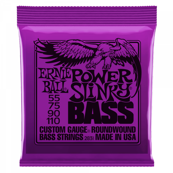 Cordes basse électrique Ernie ball Bass (4) 2831 Power Slinky 55-110 - Jeu de cordes
