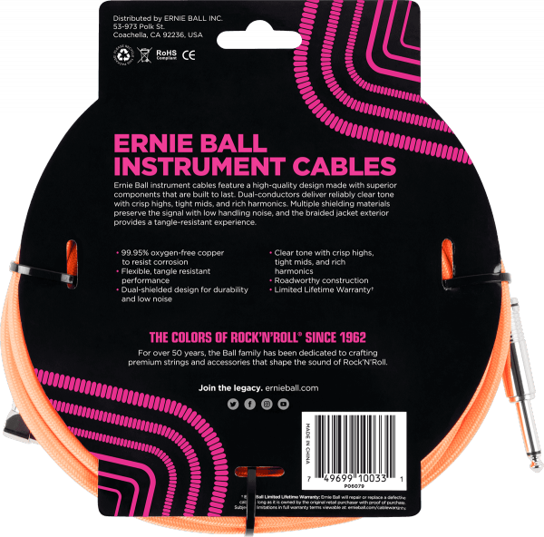 Câble Ernie ball Cables Instrument Gaine Tissée Jack/Jack Coudé 3m Orange