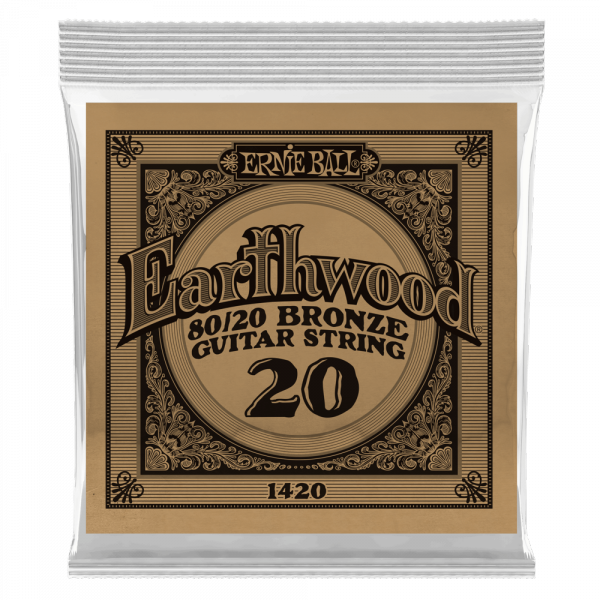 Cordes guitare folk  Ernie ball Folk (1) Earthwood 80/20 Bronze 020 - Corde au détail