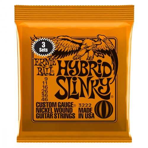 Cordes guitare électrique Ernie ball Electric (3x SET) 3222 Hybrid Slinky 9-46 - Jeu de 6 cordes