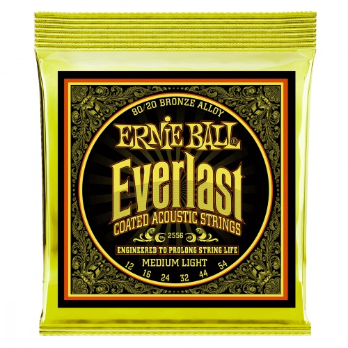 Cordes guitare folk  Ernie ball Folk (6) 2556 Everlast Coated Medium Light 12-54 - jeu de cordes