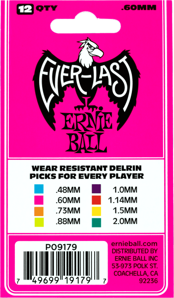 Médiator & onglet Ernie ball Everlast Sachet de 12 Rose 0,60mm