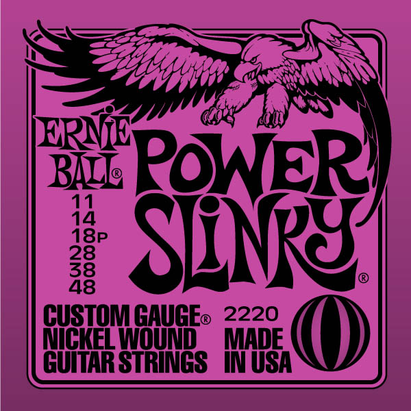 Cordes guitare électrique Ernie ball Electric (6) 2220 Power Slinky 11-48 - jeu de 6 cordes