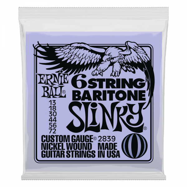 Cordes guitare électrique Ernie ball Electric 2839 Slinky 6String Barytone 5/8 scale 13-72 - Jeu de 6 cordes