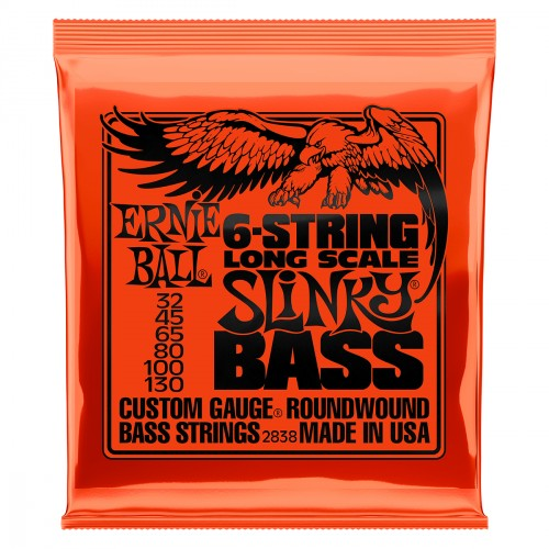 Cordes basse électrique Ernie ball Bass (6) 2838 Slinky Long Scale 32-130 - Jeu de 6 cordes