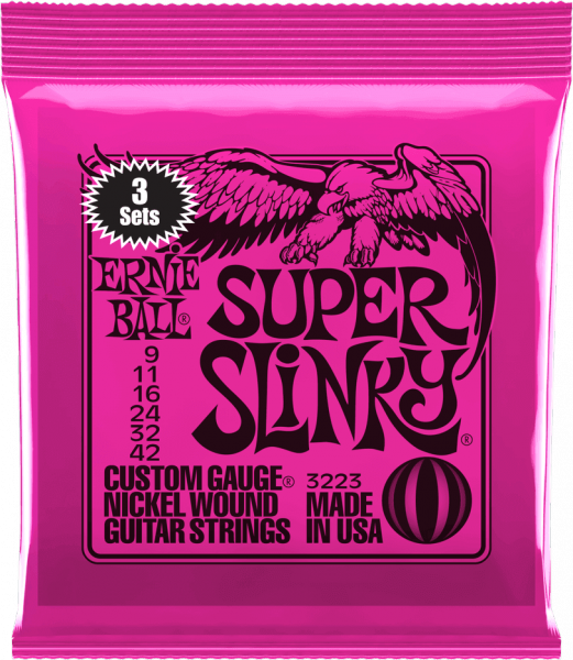 Cordes guitare électrique Ernie ball Electric (3X SET) 3223 Super Slinky 09-42 - Jeu de 6 cordes