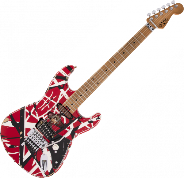 Guitare électrique solid body Evh                            Striped Series Frankie - Red with black & white stripes