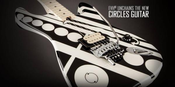 Guitare électrique solid body Evh                            Striped Series Circles - black and white with crop circles