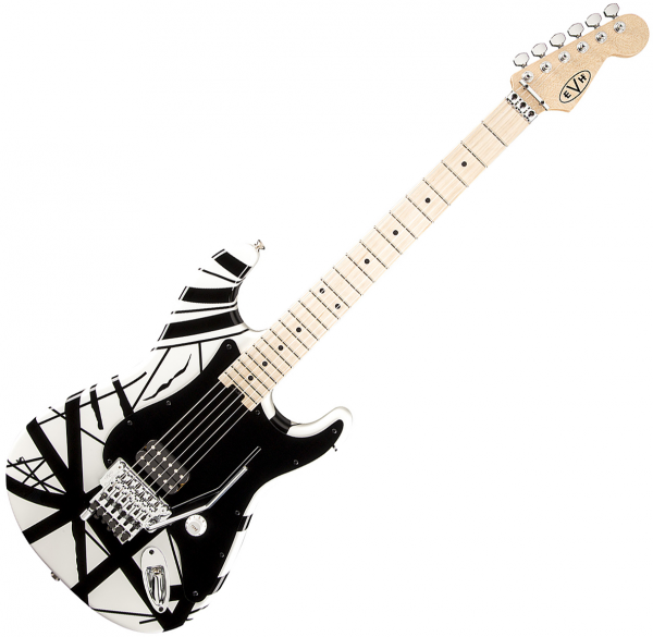 Guitare électrique solid body Evh                            Striped Series - White with black stripes